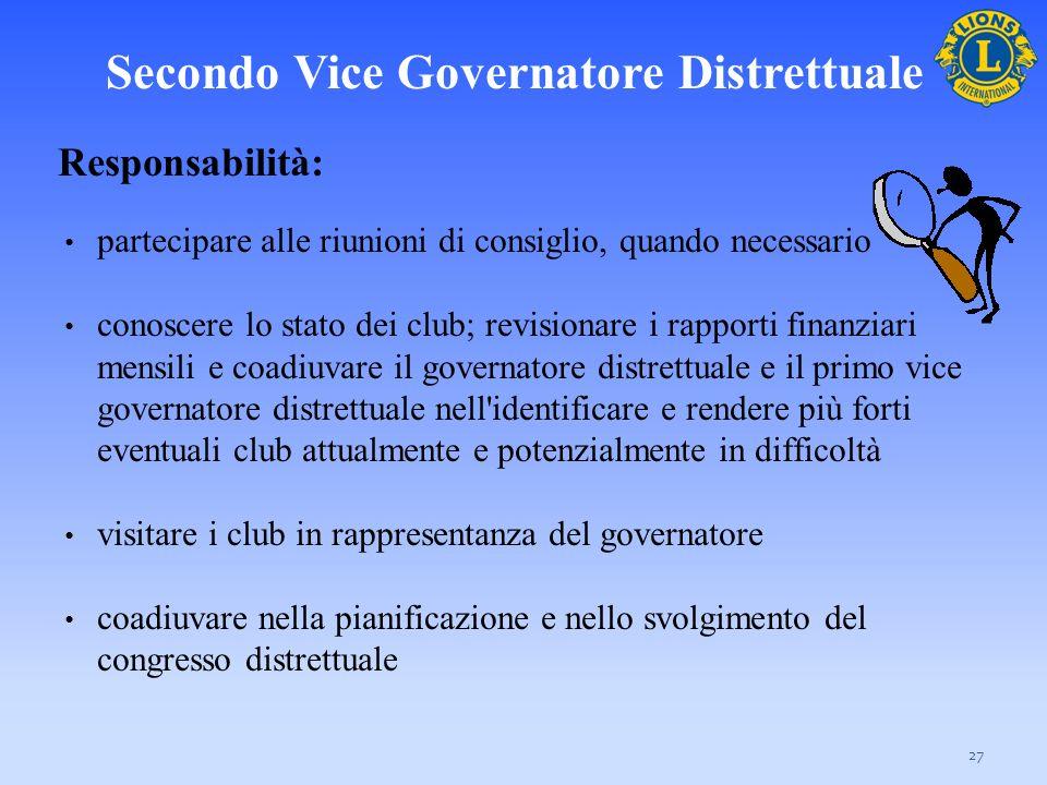 Secondo Vice Governatore Distrettuale 27 Responsabilità: partecipare alle riunioni di consiglio, quando necessario conoscere lo stato dei club; revisi