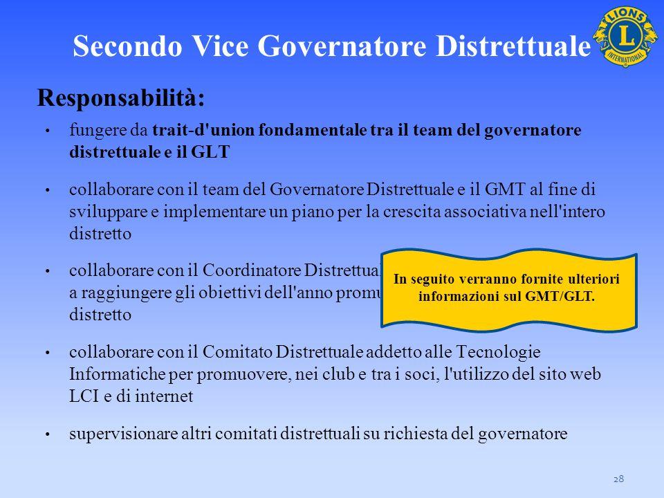 Secondo Vice Governatore Distrettuale 28 Responsabilità: fungere da trait-d'union fondamentale tra il team del governatore distrettuale e il GLT colla