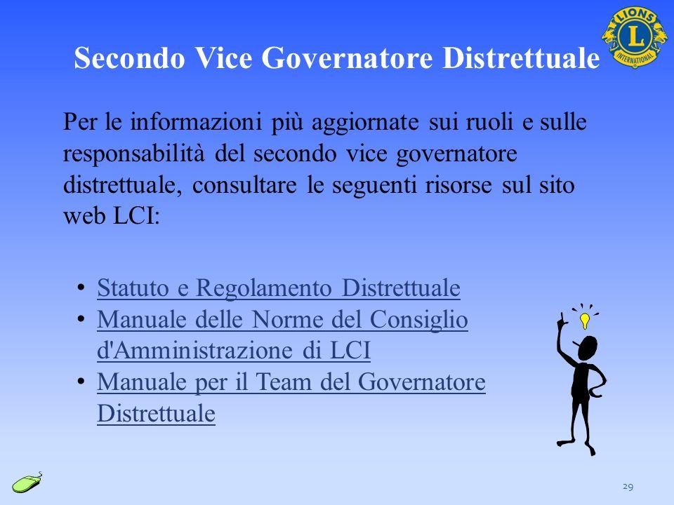 29 Per le informazioni più aggiornate sui ruoli e sulle responsabilità del secondo vice governatore distrettuale, consultare le seguenti risorse sul s