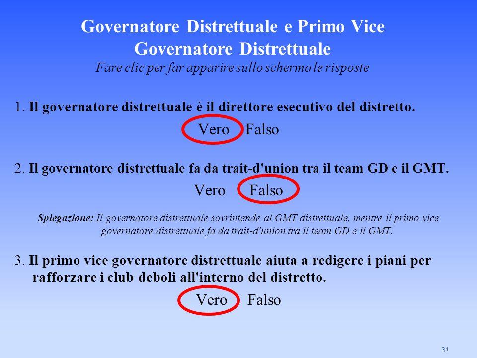 31 1. Il governatore distrettuale è il direttore esecutivo del distretto. VeroFalso 2. Il governatore distrettuale fa da trait-d'union tra il team GD
