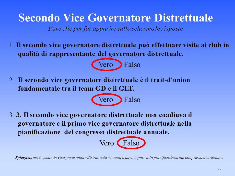 Secondo Vice Governatore Distrettuale Fare clic per far apparire sullo schermo le risposte 32 1. Il secondo vice governatore distrettuale può effettua