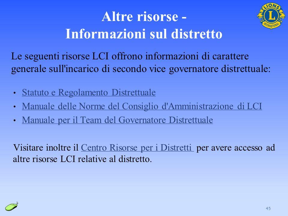 Altre risorse - Informazioni sul distretto Le seguenti risorse LCI offrono informazioni di carattere generale sull'incarico di secondo vice governator