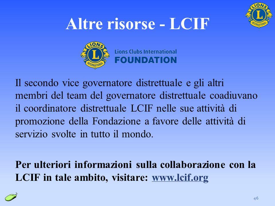 Altre risorse - LCIF Il secondo vice governatore distrettuale e gli altri membri del team del governatore distrettuale coadiuvano il coordinatore dist