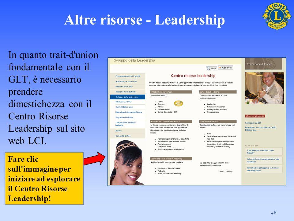 Altre risorse - Leadership In quanto trait-d'union fondamentale con il GLT, è necessario prendere dimestichezza con il Centro Risorse Leadership sul s