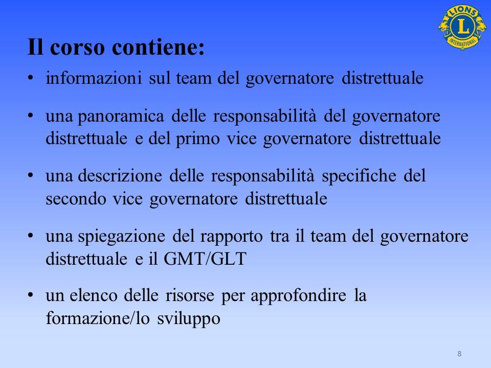 Il corso contiene: informazioni sul team del governatore distrettuale una panoramica delle responsabilità del governatore distrettuale e del primo vic