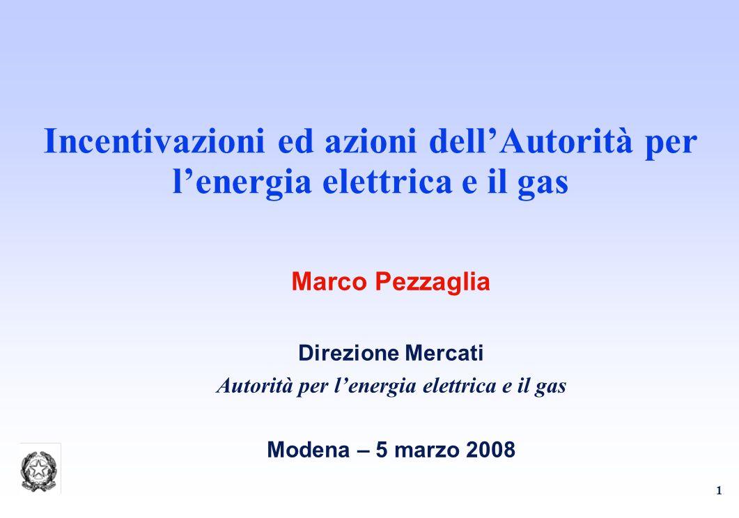 1 Incentivazioni ed azioni dellAutorità per lenergia elettrica e il gas Marco Pezzaglia Direzione Mercati Autorità per lenergia elettrica e il gas Modena – 5 marzo 2008