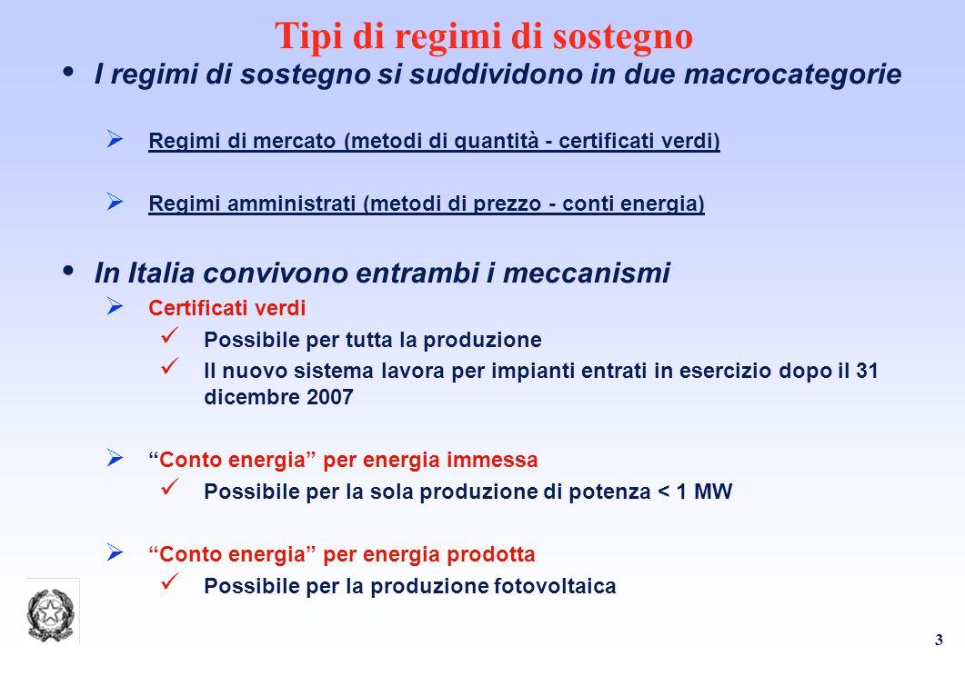 3 Tipi di regimi di sostegno I regimi di sostegno si suddividono in due macrocategorie Regimi di mercato (metodi di quantità - certificati verdi) Regimi amministrati (metodi di prezzo - conti energia) In Italia convivono entrambi i meccanismi Certificati verdi Possibile per tutta la produzione Il nuovo sistema lavora per impianti entrati in esercizio dopo il 31 dicembre 2007 Conto energia per energia immessa Possibile per la sola produzione di potenza < 1 MW Conto energia per energia prodotta Possibile per la produzione fotovoltaica