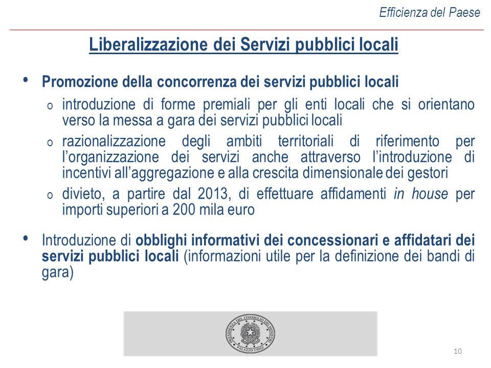 10 Liberalizzazione dei Servizi pubblici locali Promozione della concorrenza dei servizi pubblici locali o introduzione di forme premiali per gli enti
