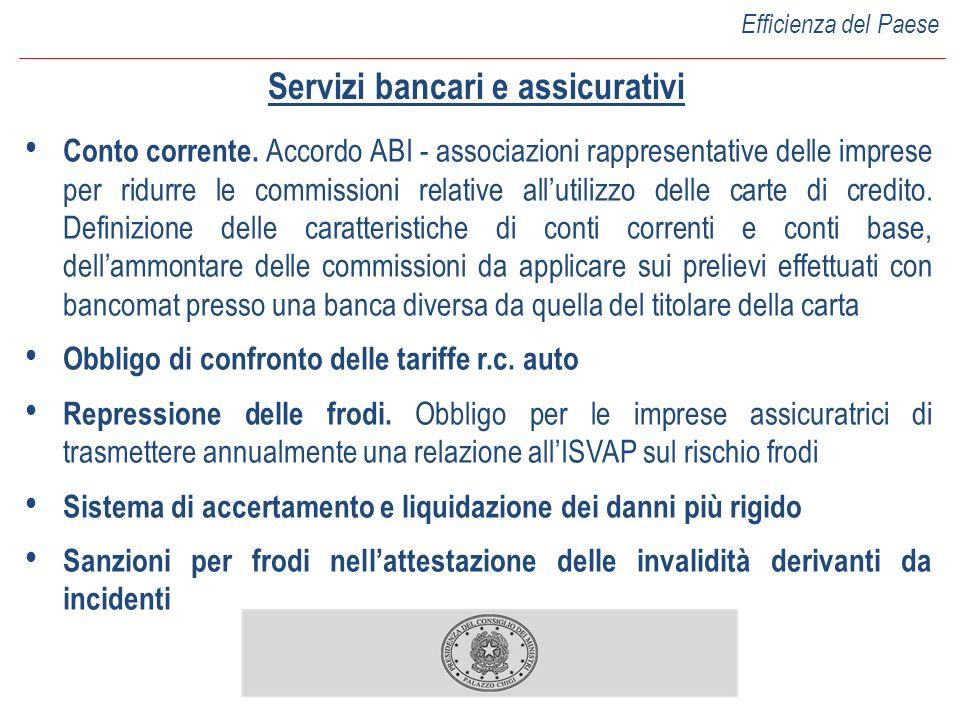 Servizi bancari e assicurativi Conto corrente. Accordo ABI - associazioni rappresentative delle imprese per ridurre le commissioni relative allutilizz