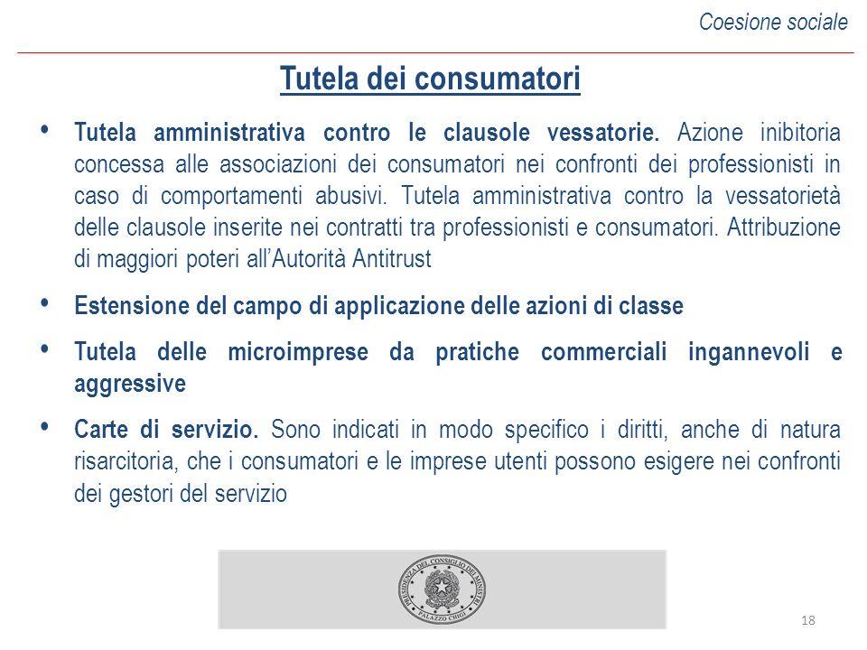 18 Tutela dei consumatori Tutela amministrativa contro le clausole vessatorie.