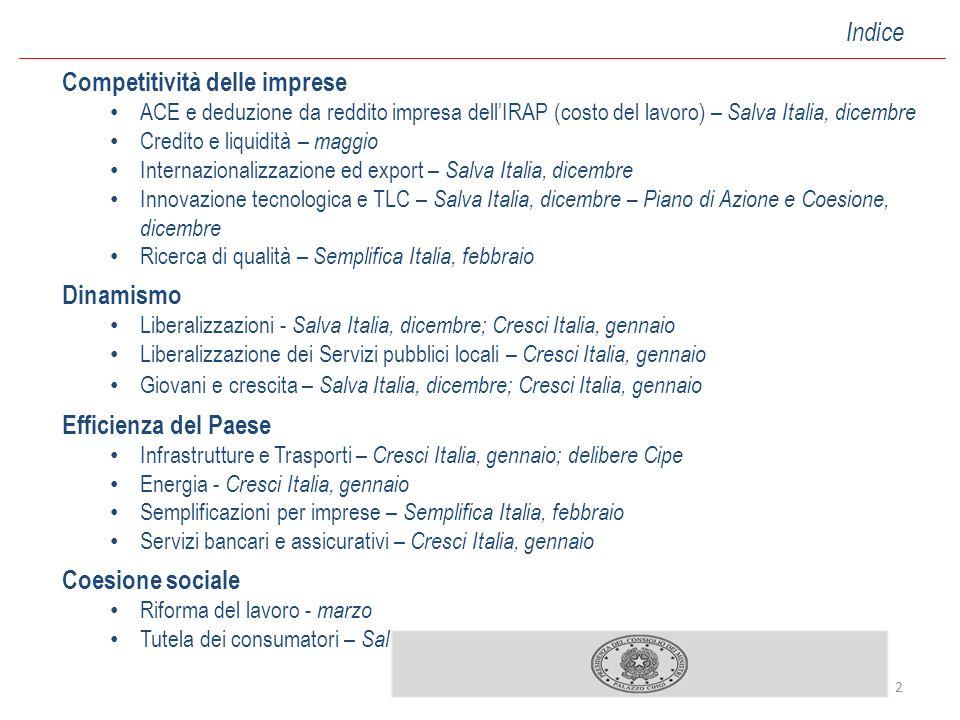 2 Competitività delle imprese ACE e deduzione da reddito impresa dellIRAP (costo del lavoro) – Salva Italia, dicembre Credito e liquidità – maggio Int