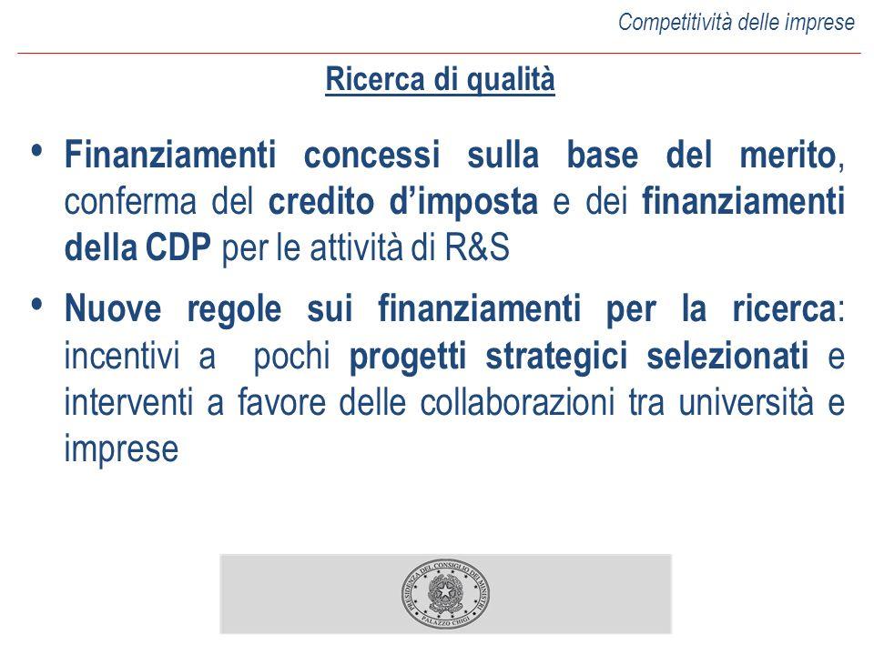 Ricerca di qualità Finanziamenti concessi sulla base del merito, conferma del credito dimposta e dei finanziamenti della CDP per le attività di R&S Nu