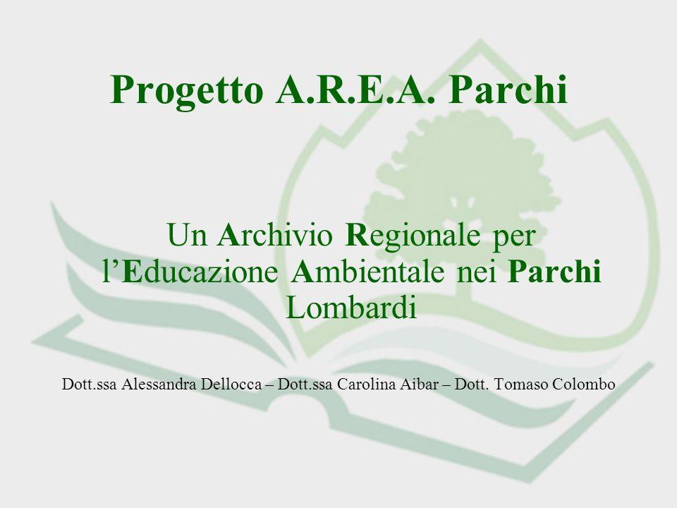 Progetto A.R.E.A. Parchi Un Archivio Regionale per lEducazione Ambientale nei Parchi Lombardi Dott.ssa Alessandra Dellocca – Dott.ssa Carolina Aibar –