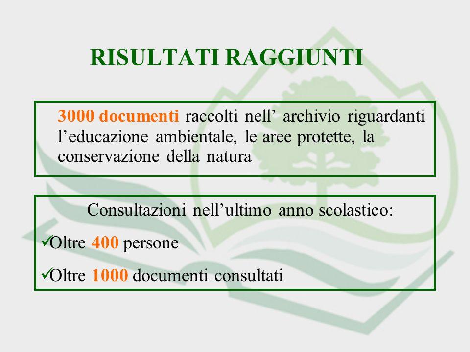 RISULTATI RAGGIUNTI 3000 documenti raccolti nell archivio riguardanti leducazione ambientale, le aree protette, la conservazione della natura Consultazioni nellultimo anno scolastico: Oltre 400 persone Oltre 1000 documenti consultati