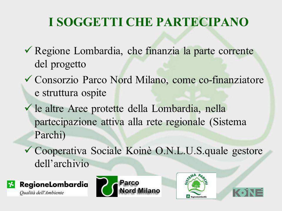 I SOGGETTI CHE PARTECIPANO Regione Lombardia, che finanzia la parte corrente del progetto Consorzio Parco Nord Milano, come co-finanziatore e struttur
