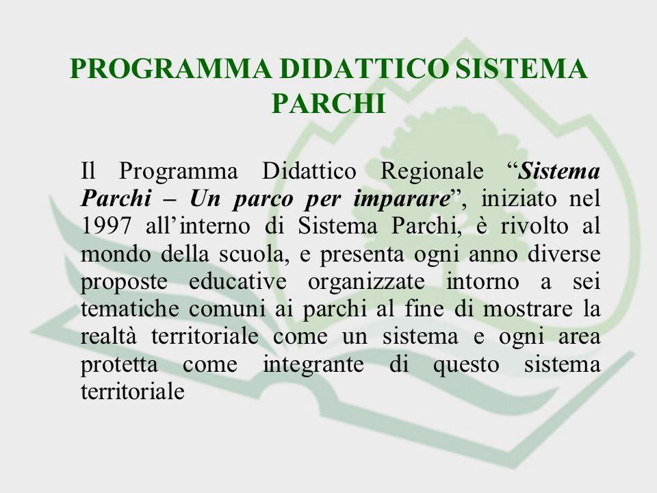 PROGRAMMA DIDATTICO SISTEMA PARCHI Il Programma Didattico Regionale Sistema Parchi – Un parco per imparare, iniziato nel 1997 allinterno di Sistema Pa