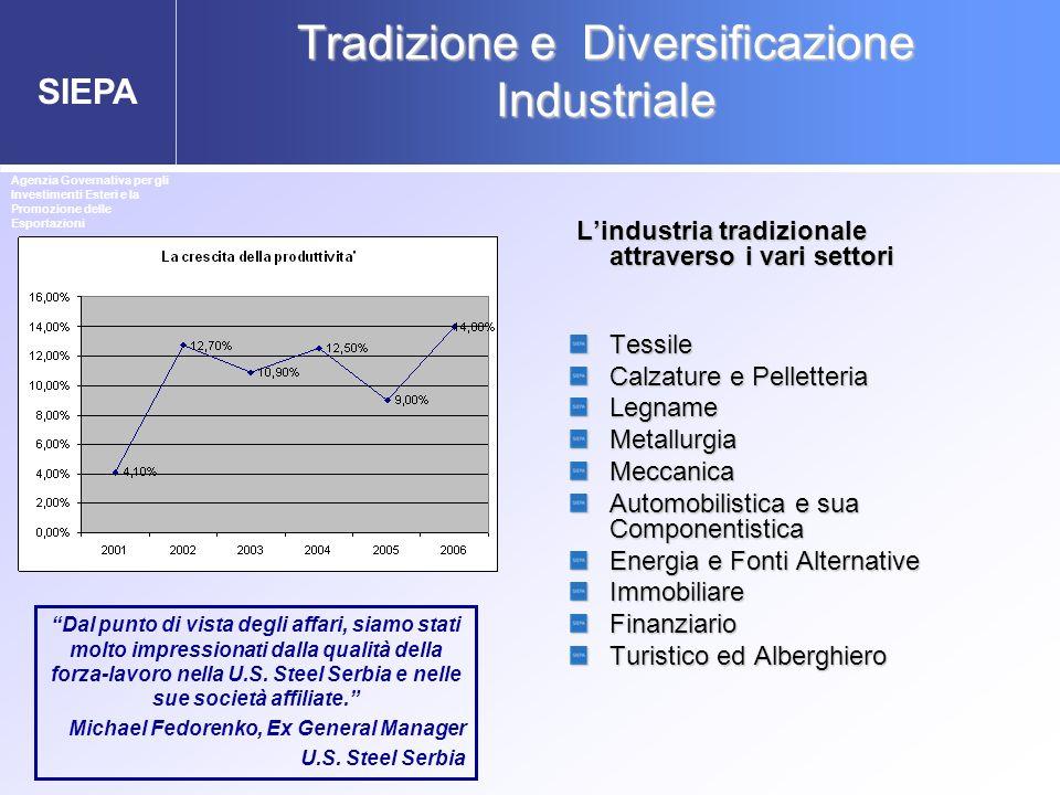 SIEPA Tradizione e Diversificazione Industriale Lindustria tradizionale attraverso i vari settori Lindustria tradizionale attraverso i vari settori Te