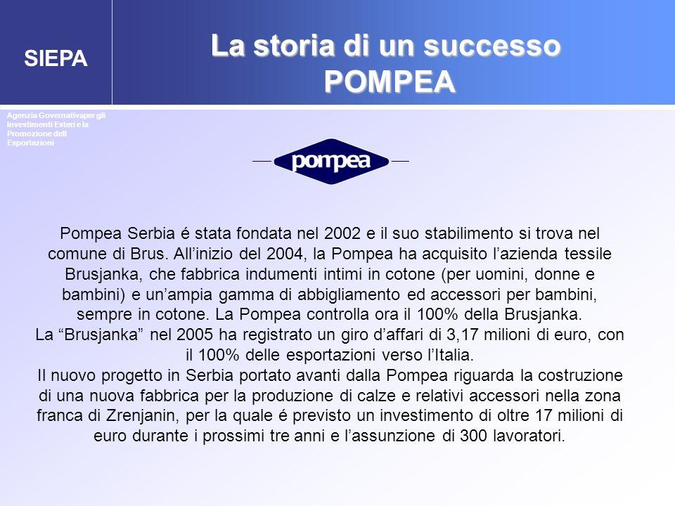 SIEPA La storia di un successo POMPEA Pompea Serbia é stata fondata nel 2002 e il suo stabilimento si trova nel comune di Brus. Allinizio del 2004, la