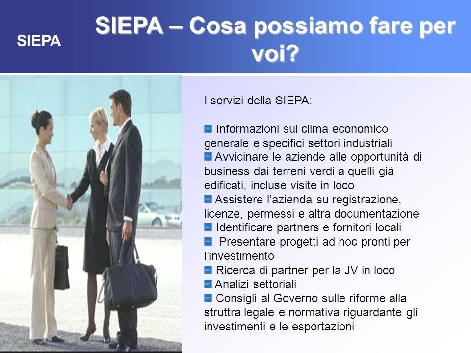 SIEPA SIEPA – Cosa possiamo fare per voi? Agenzia Governativa per gli Investimenti Esteri e la promozione delle Esportazioni I servizi della SIEPA: In