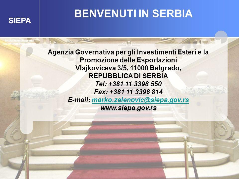 SIEPA BENVENUTI IN SERBIA Serbia Investment and Export Promotion Agency Agenzia Governativa per gli Investimenti Esteri e la Promozione delle Esportaz