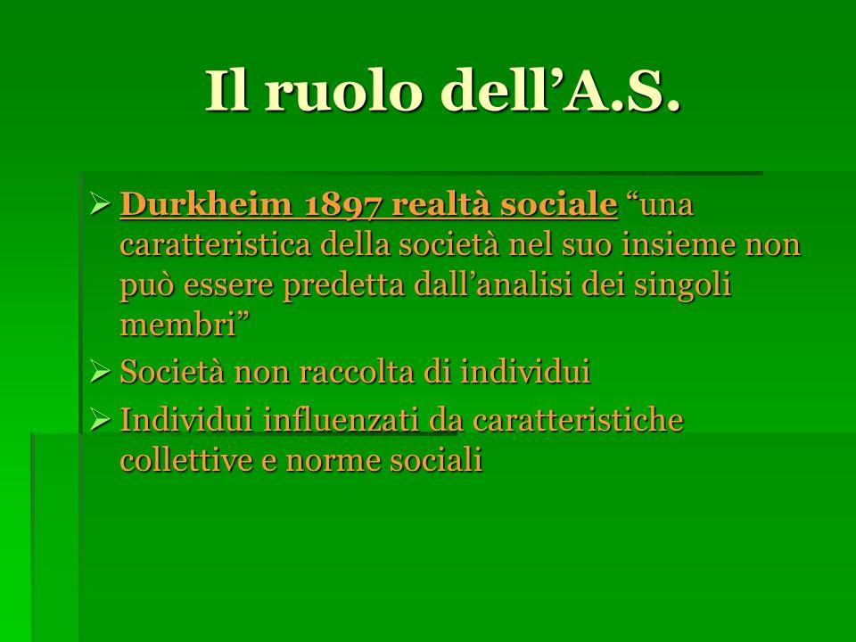 Il ruolo dellA.S.Il ruolo dellA.S.