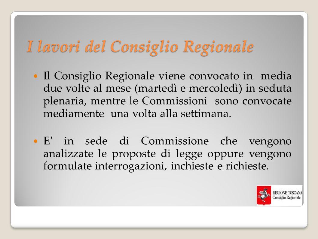 I lavori del Consiglio Regionale Il Consiglio Regionale viene convocato in media due volte al mese (martedì e mercoledì) in seduta plenaria, mentre le Commissioni sono convocate mediamente una volta alla settimana.