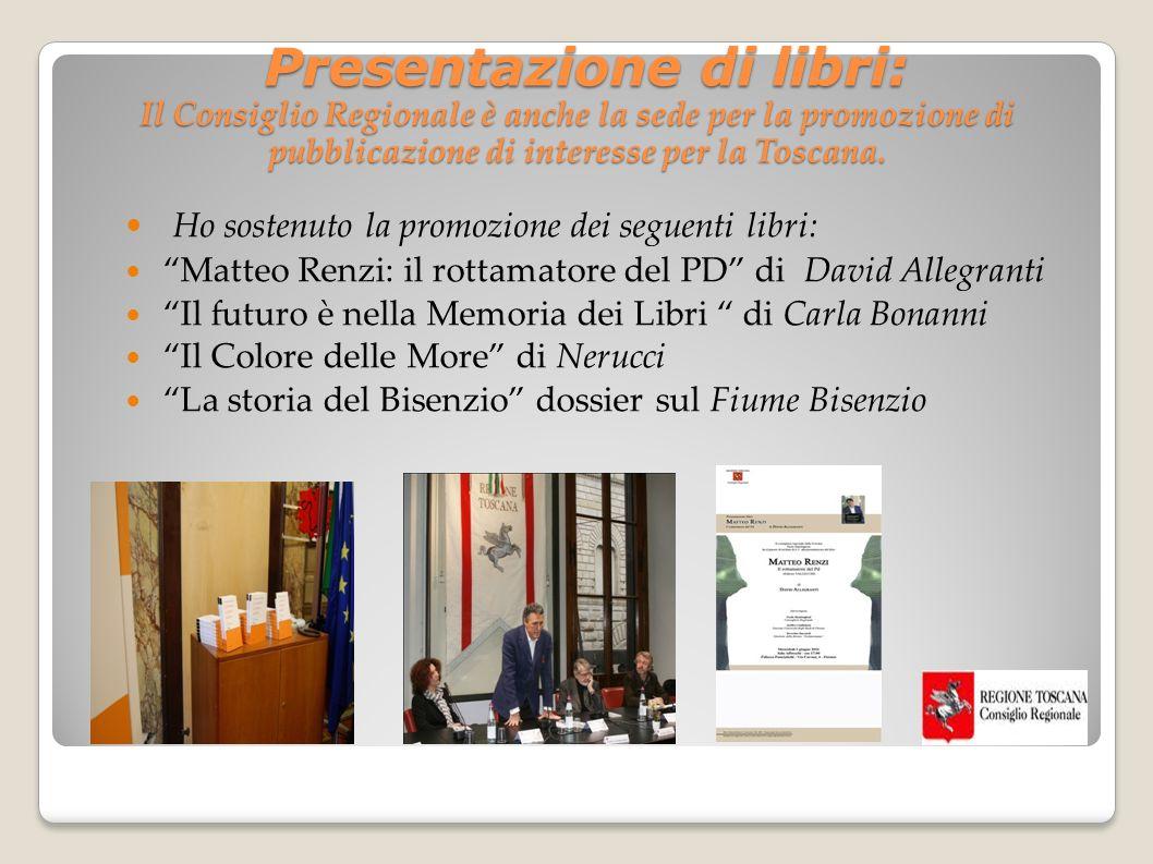 Presentazione di libri: Il Consiglio Regionale è anche la sede per la promozione di pubblicazione di interesse per la Toscana.