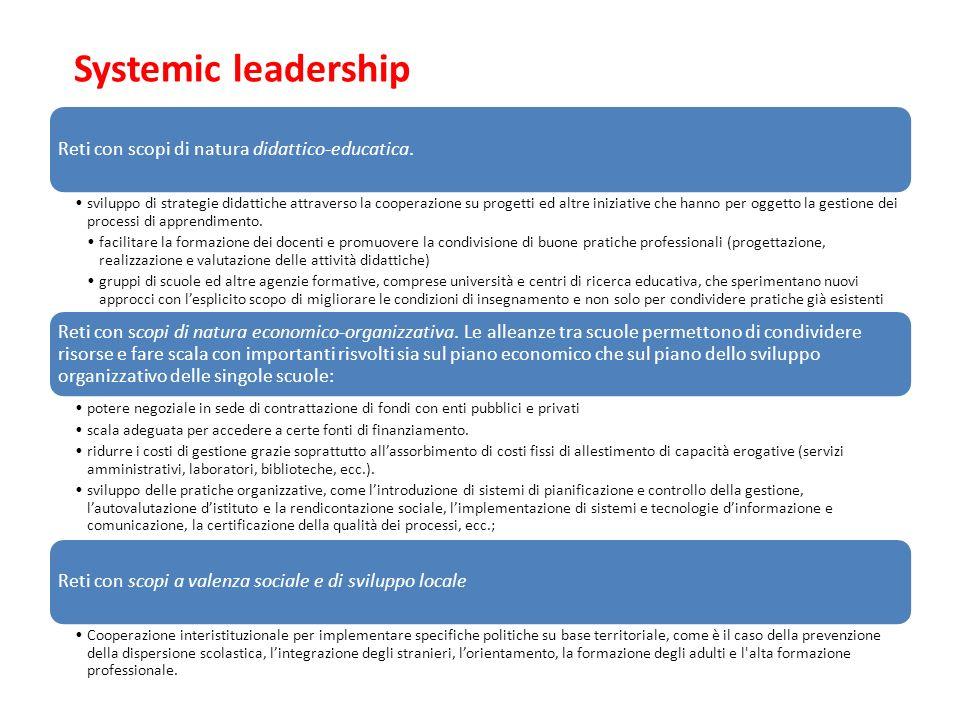 Systemic leadership Reti con scopi di natura didattico-educatica. sviluppo di strategie didattiche attraverso la cooperazione su progetti ed altre ini