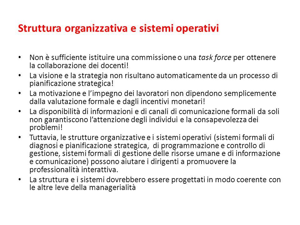 Struttura organizzativa e sistemi operativi Non è sufficiente istituire una commissione o una task force per ottenere la collaborazione dei docenti.