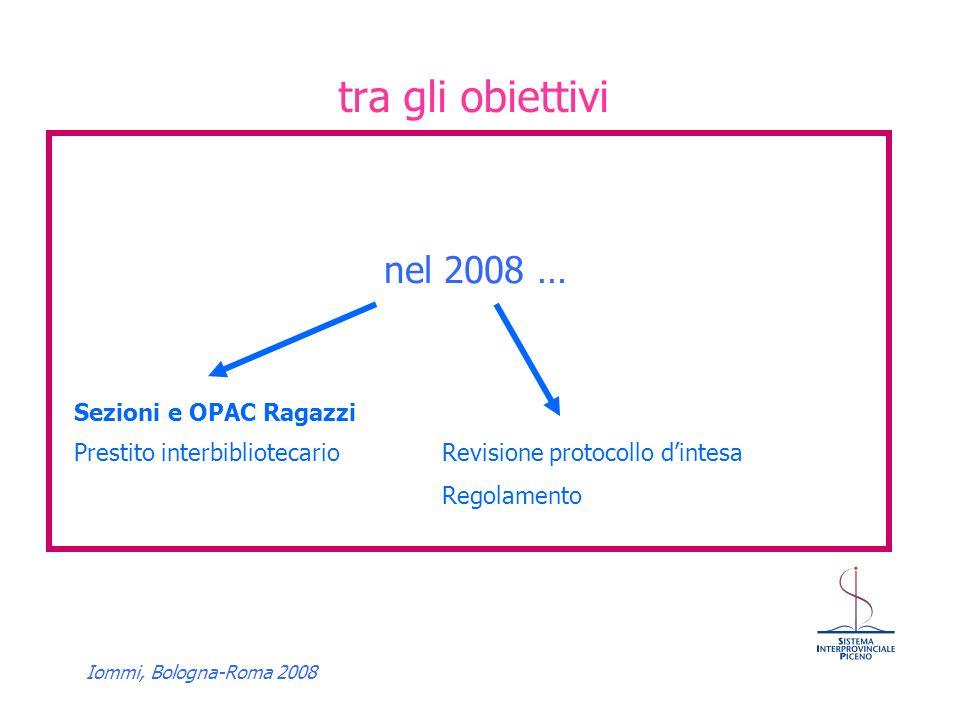 Iommi, Bologna-Roma 2008 tra gli obiettivi nel 2008 … Sezioni e OPAC Ragazzi Prestito interbibliotecarioRevisione protocollo dintesa Regolamento