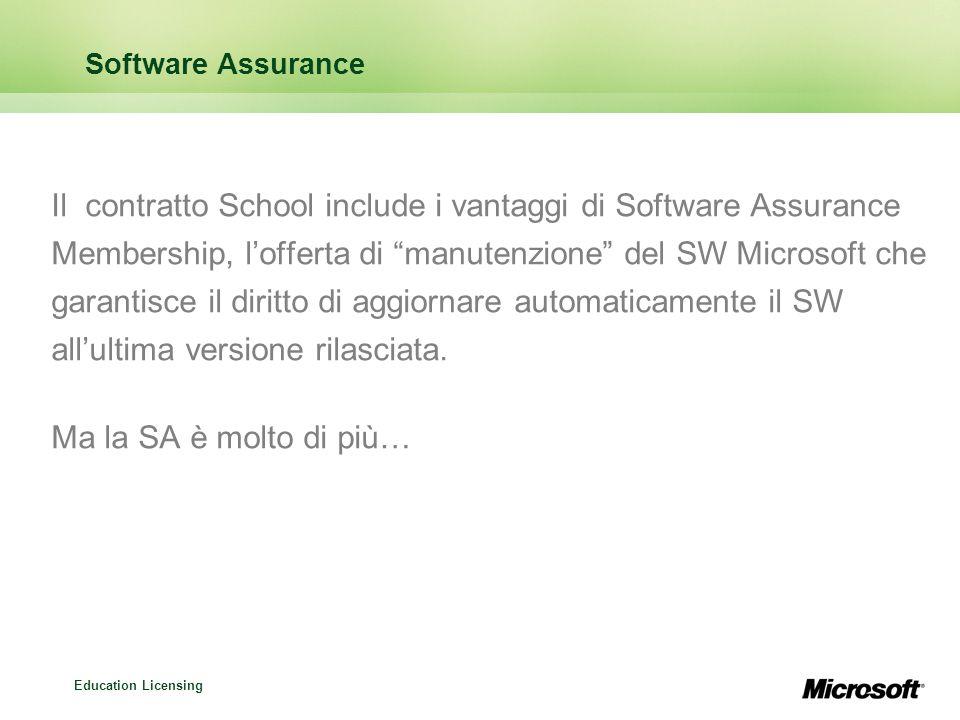 Education Licensing Software Assurance Il contratto School include i vantaggi di Software Assurance Membership, lofferta di manutenzione del SW Microsoft che garantisce il diritto di aggiornare automaticamente il SW allultima versione rilasciata.