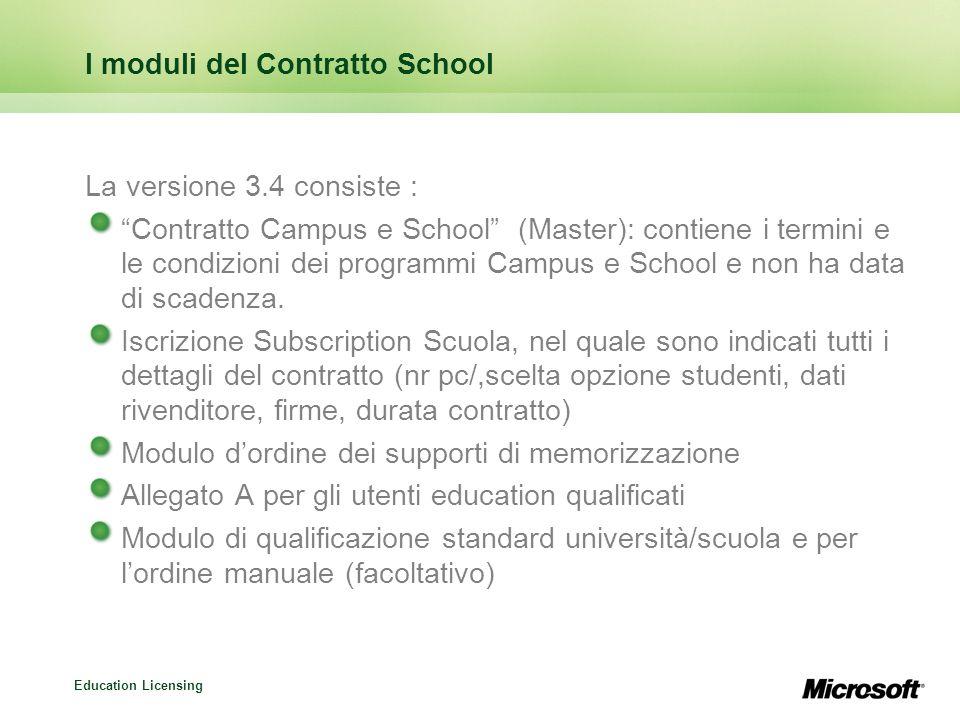 Education Licensing I moduli del Contratto School La versione 3.4 consiste : Contratto Campus e School (Master): contiene i termini e le condizioni dei programmi Campus e School e non ha data di scadenza.