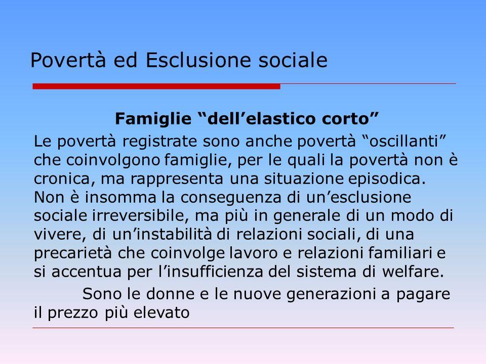 Povertà ed Esclusione sociale Famiglie dellelastico corto Le povertà registrate sono anche povertà oscillanti che coinvolgono famiglie, per le quali la povertà non è cronica, ma rappresenta una situazione episodica.