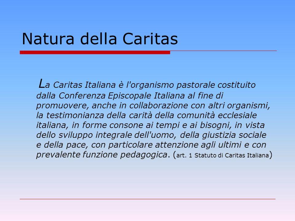 Lorganismo pastorale Caritas Secondo il mandato dello Statuto, Tre principali destinatari: i poveri (promozione umana) la Chiesa (rendere la comunità soggetto di carità) il territorio/mondo (educare alla missionarietà- mondialità )