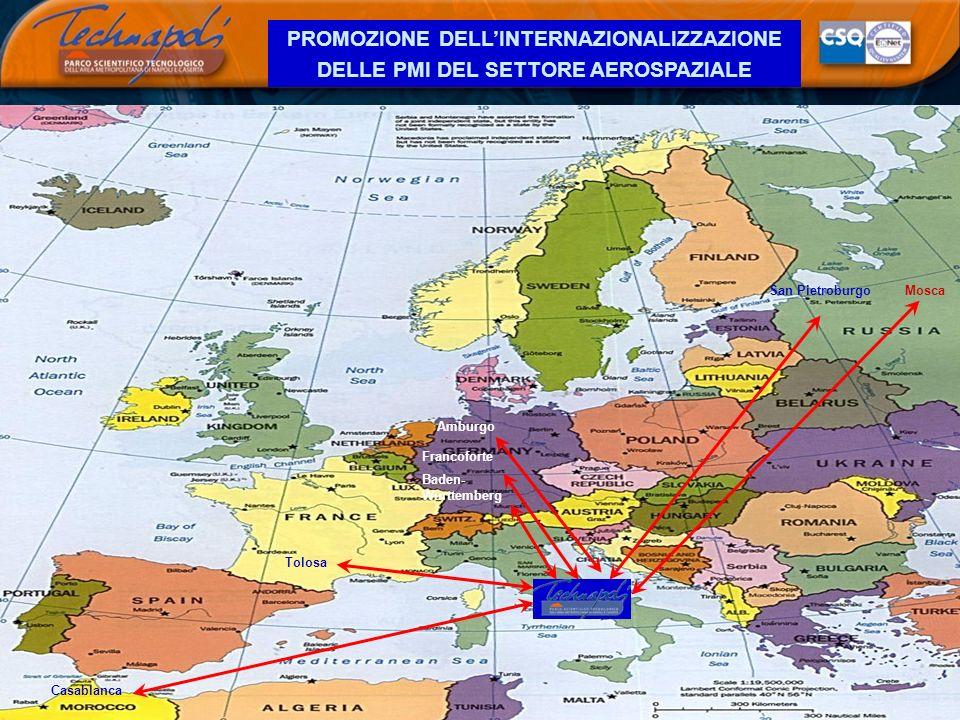PROMOZIONE DELLINTERNAZIONALIZZAZIONE DELLE PMI DEL SETTORE AEROSPAZIALE Francoforte Baden- Württemberg San PietroburgoMosca Casablanca Tolosa Amburgo