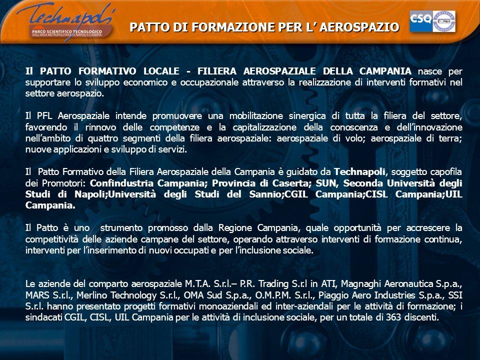 PATTO DI FORMAZIONE PER L AEROSPAZIO Il PATTO FORMATIVO LOCALE - FILIERA AEROSPAZIALE DELLA CAMPANIA nasce per supportare lo sviluppo economico e occu