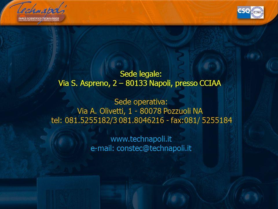 Sede legale: Via S. Aspreno, 2 – 80133 Napoli, presso CCIAA Sede operativa: Via A. Olivetti, 1 - 80078 Pozzuoli NA tel: 081.5255182/3 081.8046216 - fa