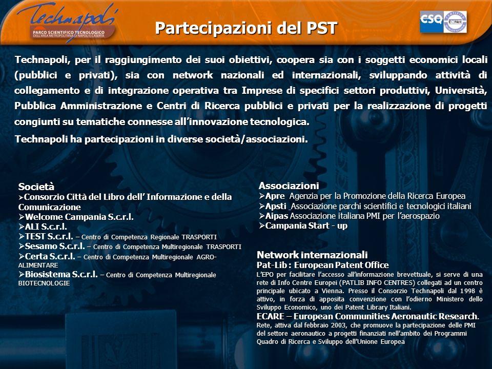 Partecipazioni del PST Technapoli, per il raggiungimento dei suoi obiettivi, coopera sia con i soggetti economici locali (pubblici e privati), sia con