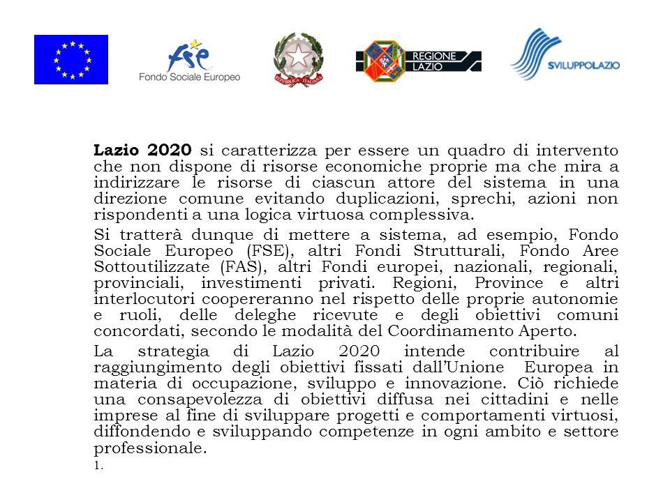 Per tale motivo, il Piano Lazio 2020 inquadra strategie e processi nella loro totalità e funge da contesto per lindirizzo degli strumenti programmatici e finanziari attuativi, e nellindividuazione dei settori strategici e degli ambiti di sviluppo economico.
