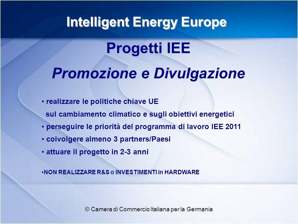 Intelligent Energy Europe © Camera di Commercio Italiana per la Germania Efficienza energetica (SAVE) Trasporti energy-efficient (STEER) Fonti di energia rinnovabile (ALTENER) Iniziative integrate BUDGET IIE 2010 – AREE di FINANZIAMENTO –