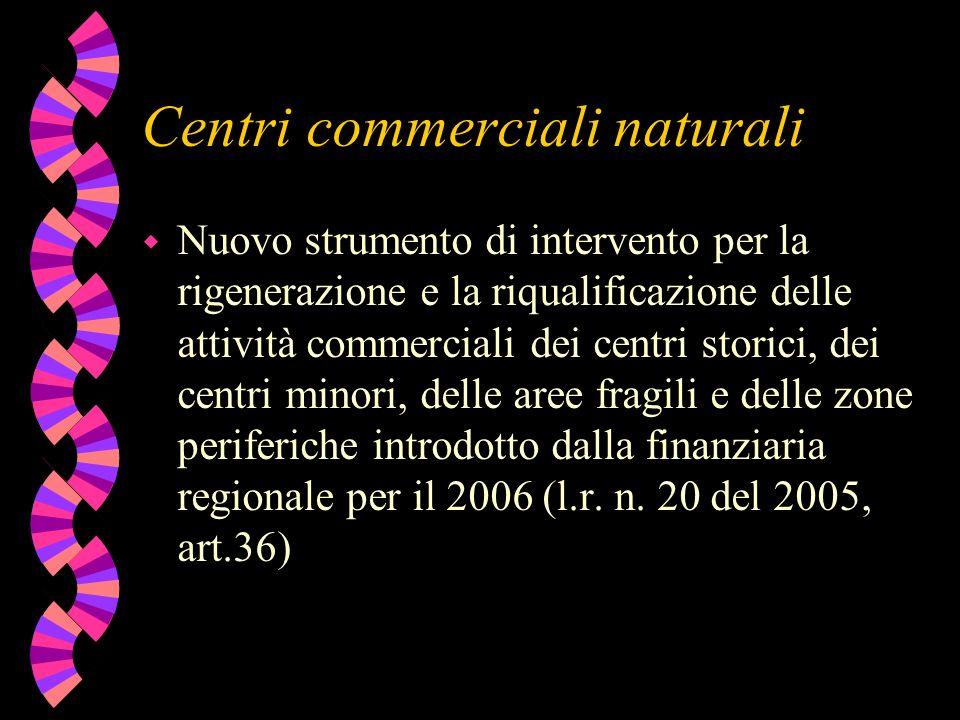 Centri commerciali naturali w Nuovo strumento di intervento per la rigenerazione e la riqualificazione delle attività commerciali dei centri storici,