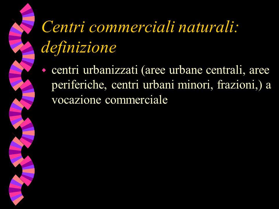 Centri commerciali naturali: definizione w centri urbanizzati (aree urbane centrali, aree periferiche, centri urbani minori, frazioni,) a vocazione co
