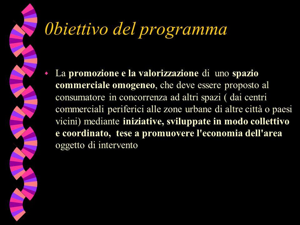 0biettivo del programma w La promozione e la valorizzazione di uno spazio commerciale omogeneo, che deve essere proposto al consumatore in concorrenza
