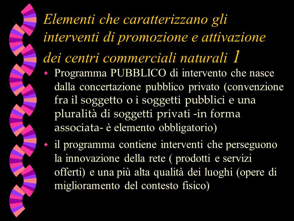 Elementi che caratterizzano gli interventi di promozione e attivazione dei centri commerciali naturali 1 Programma PUBBLICO di intervento che nasce da
