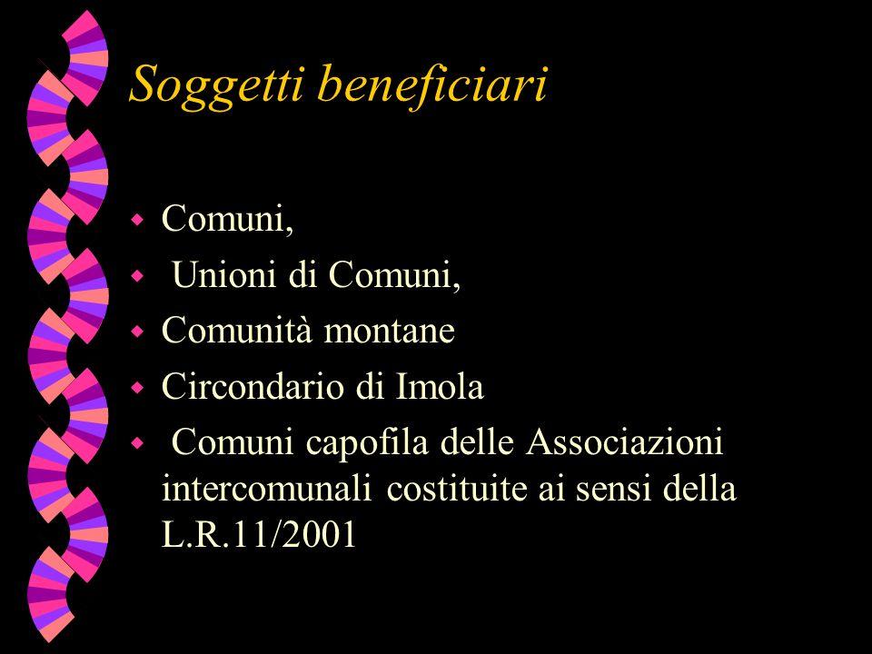 Soggetti beneficiari w Comuni, w Unioni di Comuni, w Comunità montane w Circondario di Imola w Comuni capofila delle Associazioni intercomunali costit