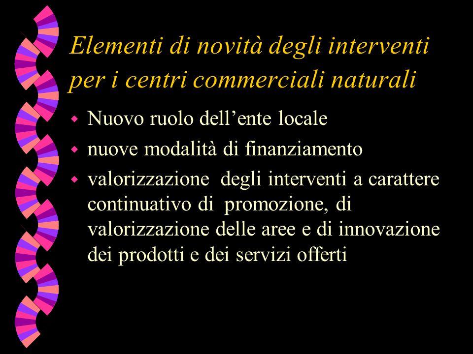 Elementi di novità degli interventi per i centri commerciali naturali w Nuovo ruolo dellente locale w nuove modalità di finanziamento w valorizzazione degli interventi a carattere continuativo di promozione, di valorizzazione delle aree e di innovazione dei prodotti e dei servizi offerti