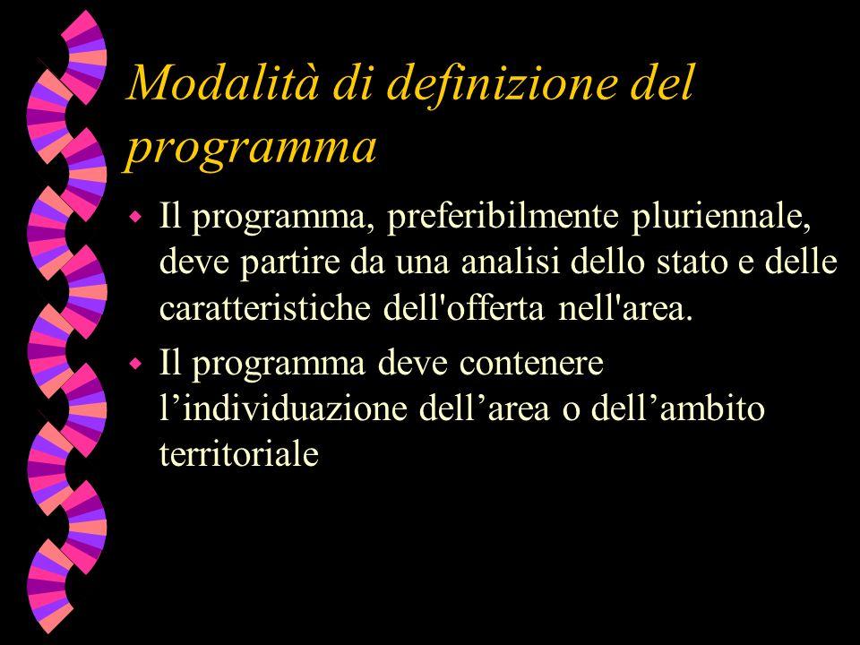 Modalità di definizione del programma w Il programma, preferibilmente pluriennale, deve partire da una analisi dello stato e delle caratteristiche dell offerta nell area.