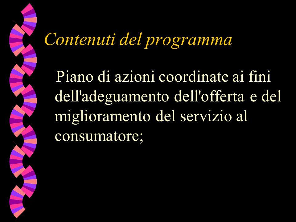 Contenuti del programma Piano di azioni coordinate ai fini dell adeguamento dell offerta e del miglioramento del servizio al consumatore;