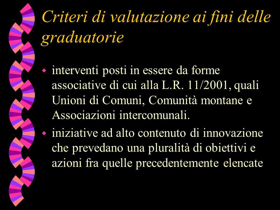Criteri di valutazione ai fini delle graduatorie w interventi posti in essere da forme associative di cui alla L.R. 11/2001, quali Unioni di Comuni, C