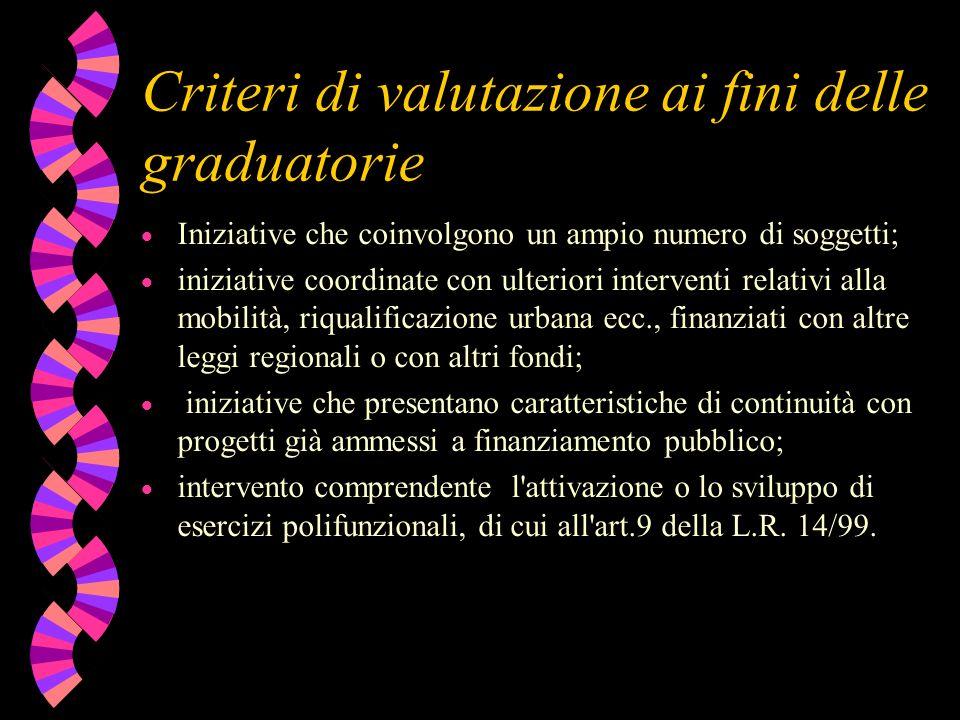 Criteri di valutazione ai fini delle graduatorie Iniziative che coinvolgono un ampio numero di soggetti; iniziative coordinate con ulteriori intervent